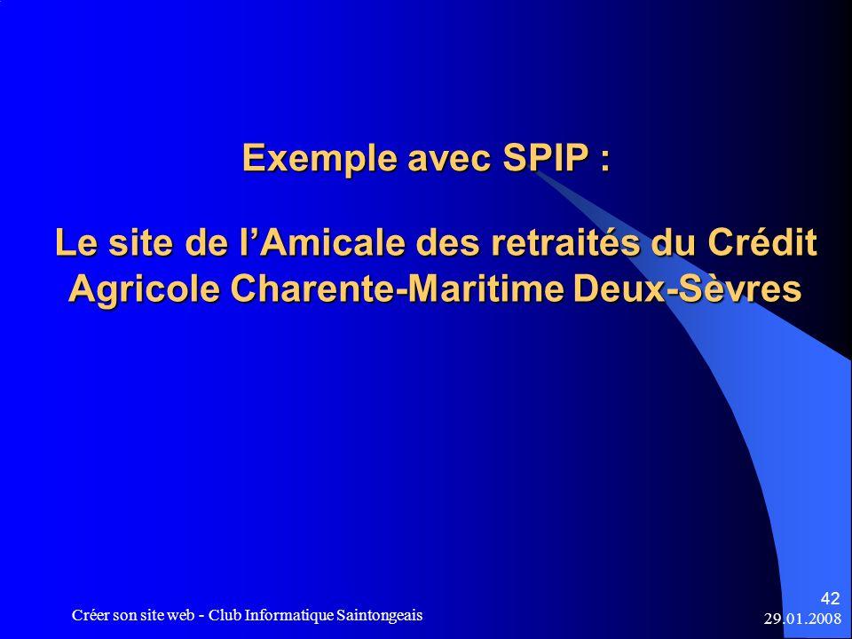 Exemple avec SPIP : Le site de l'Amicale des retraités du Crédit Agricole Charente-Maritime Deux-Sèvres.