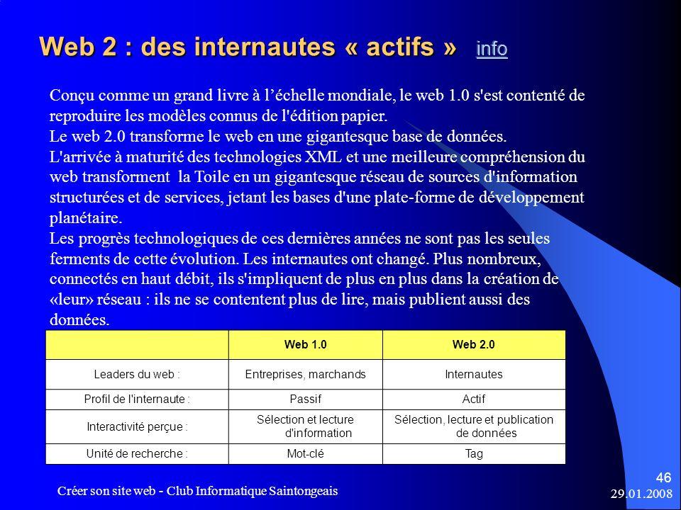 Web 2 : des internautes « actifs » info