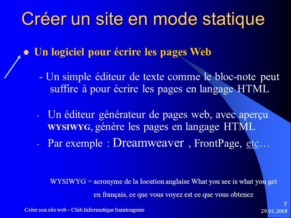 Créer un site en mode statique