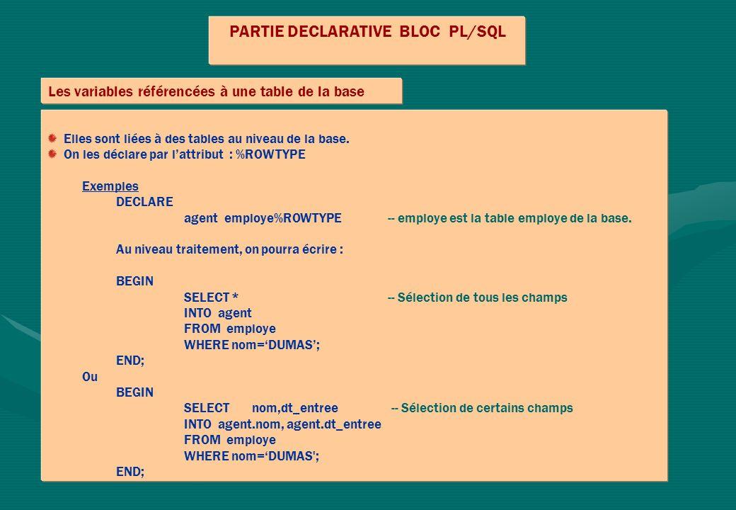 PARTIE DECLARATIVE BLOC PL/SQL