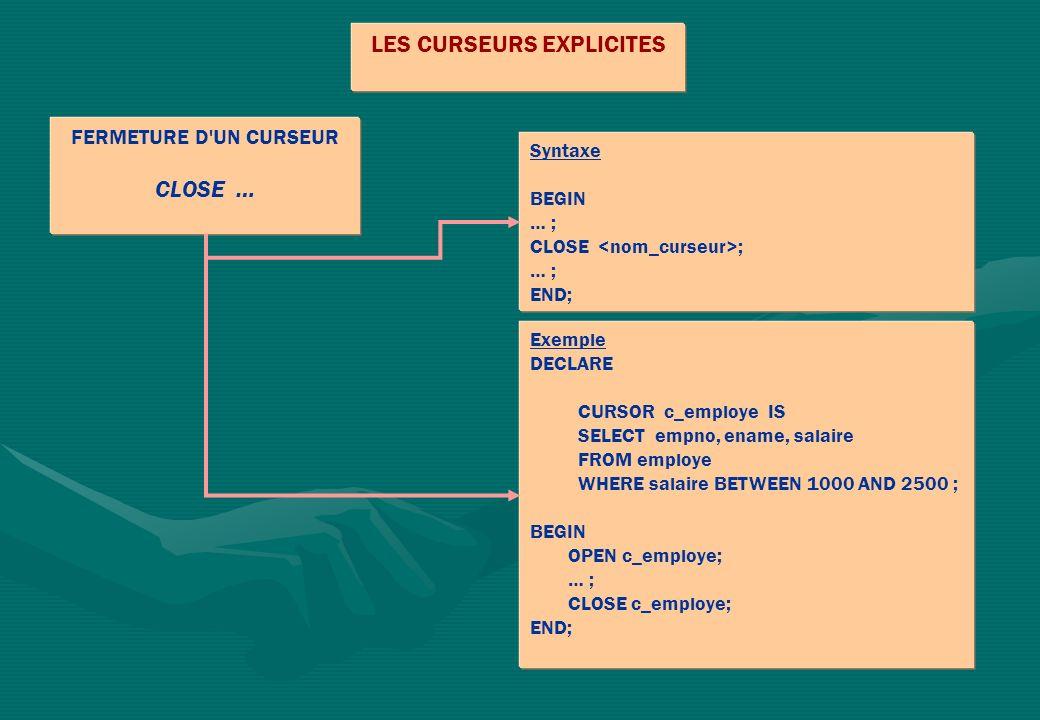 LES CURSEURS EXPLICITES