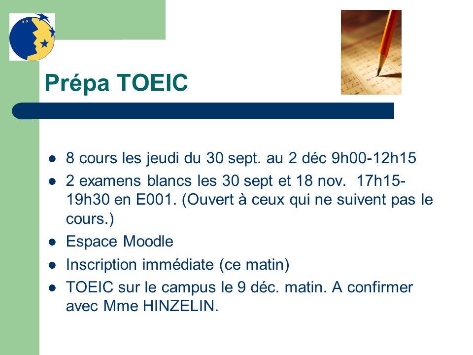 Prépa TOEIC 8 cours les jeudi du 30 sept. au 2 déc 9h00-12h15