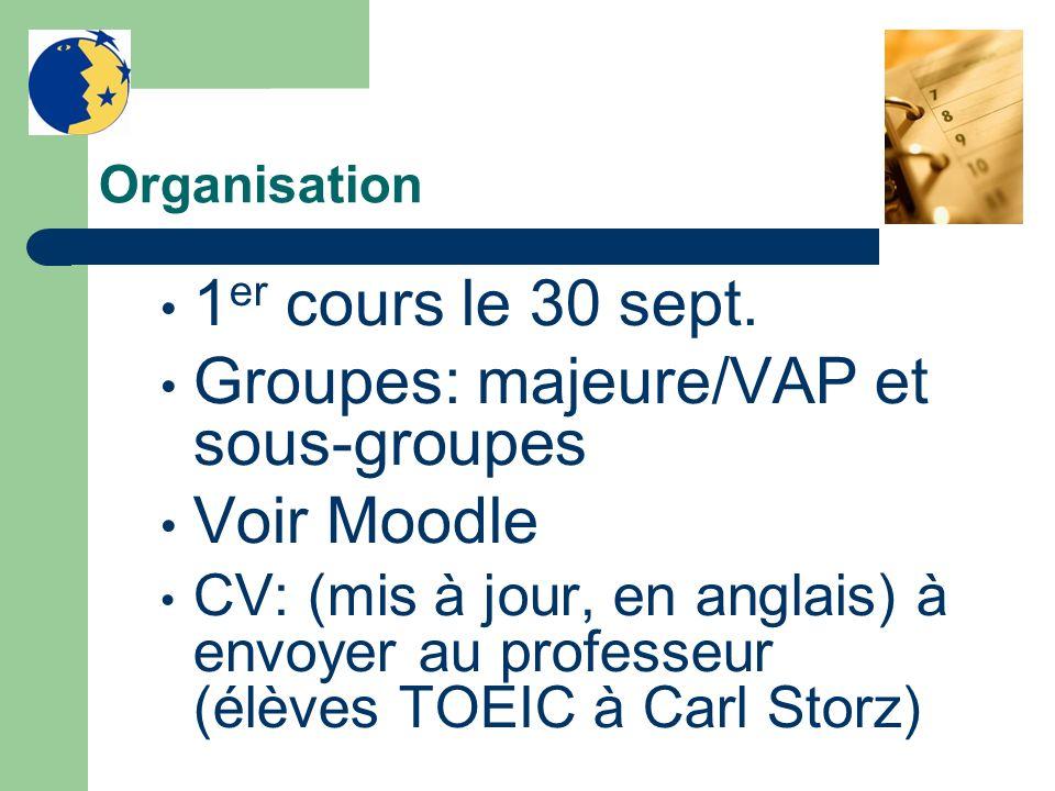 Groupes: majeure/VAP et sous-groupes Voir Moodle