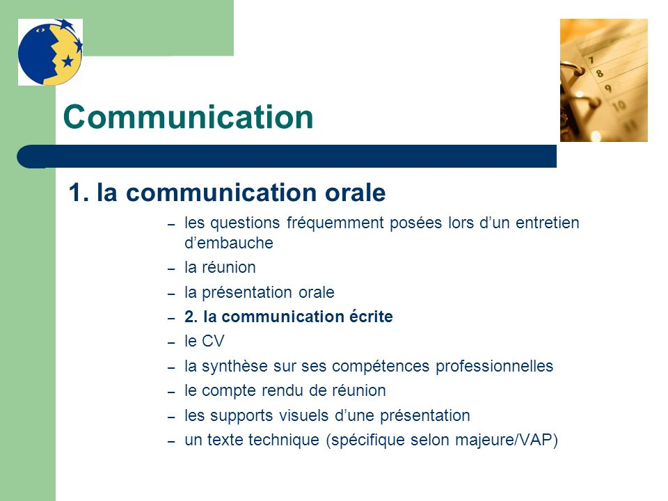 Communication 1. la communication orale