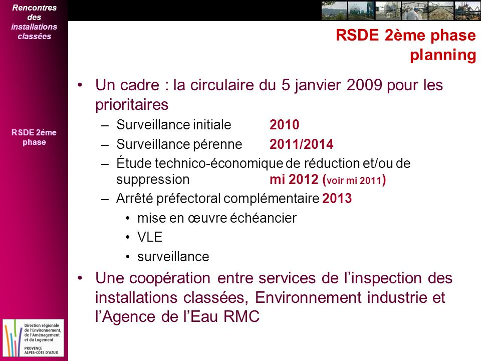 RSDE 2ème phase planning