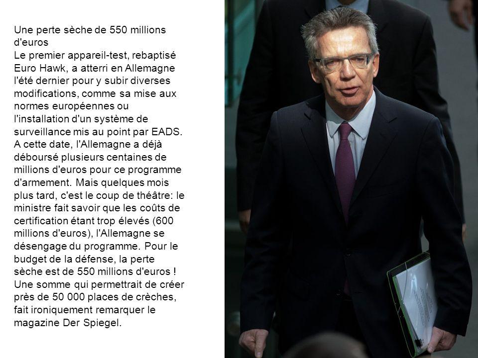 Une perte sèche de 550 millions d euros