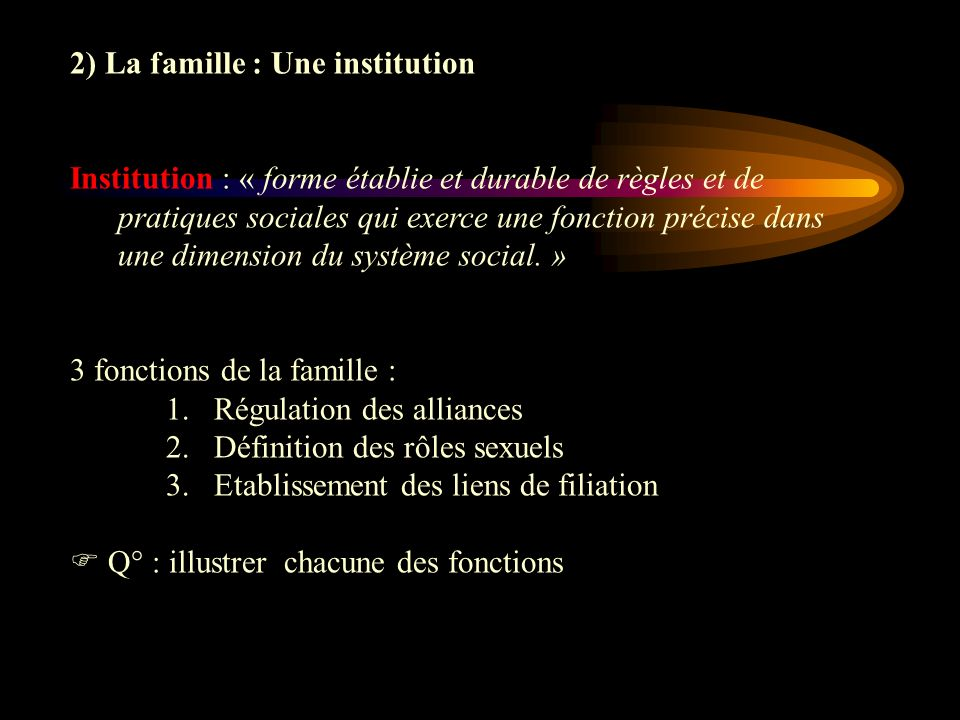 2) La famille : Une institution