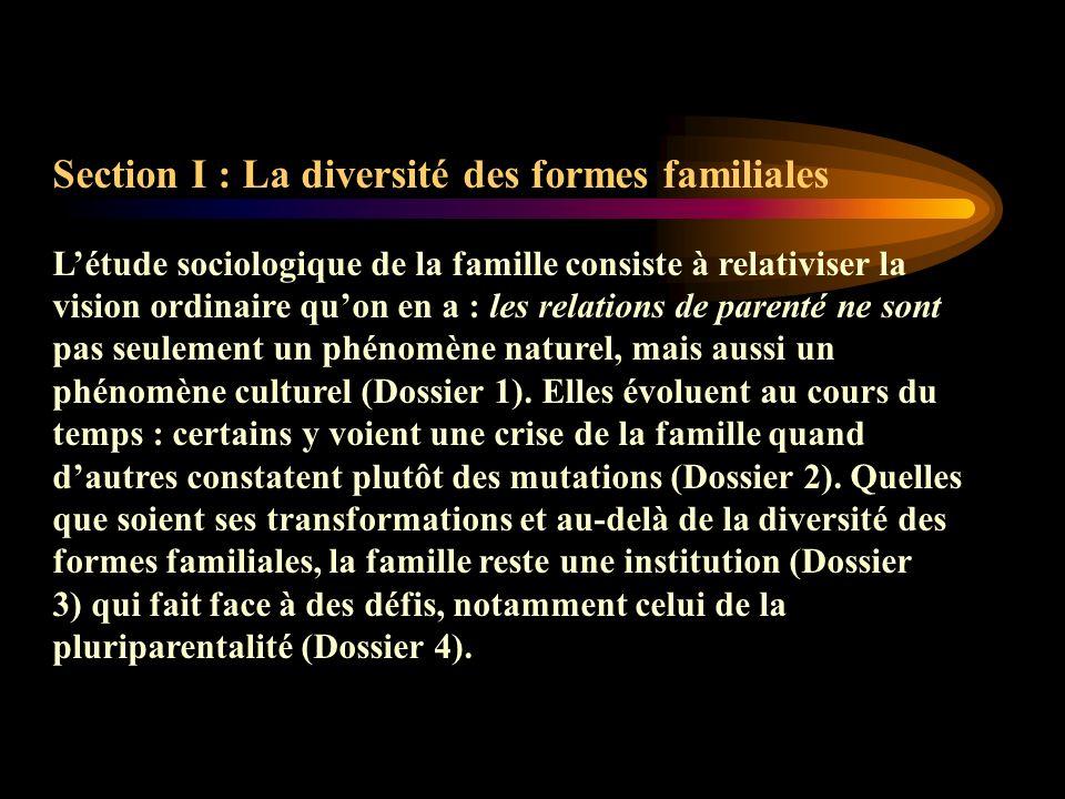 Section I : La diversité des formes familiales