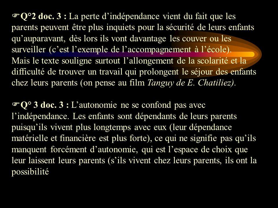 Q°2 doc. 3 : La perte d'indépendance vient du fait que les parents peuvent être plus inquiets pour la sécurité de leurs enfants qu'auparavant, dès lors ils vont davantage les couver ou les surveiller (c'est l'exemple de l'accompagnement à l'école).