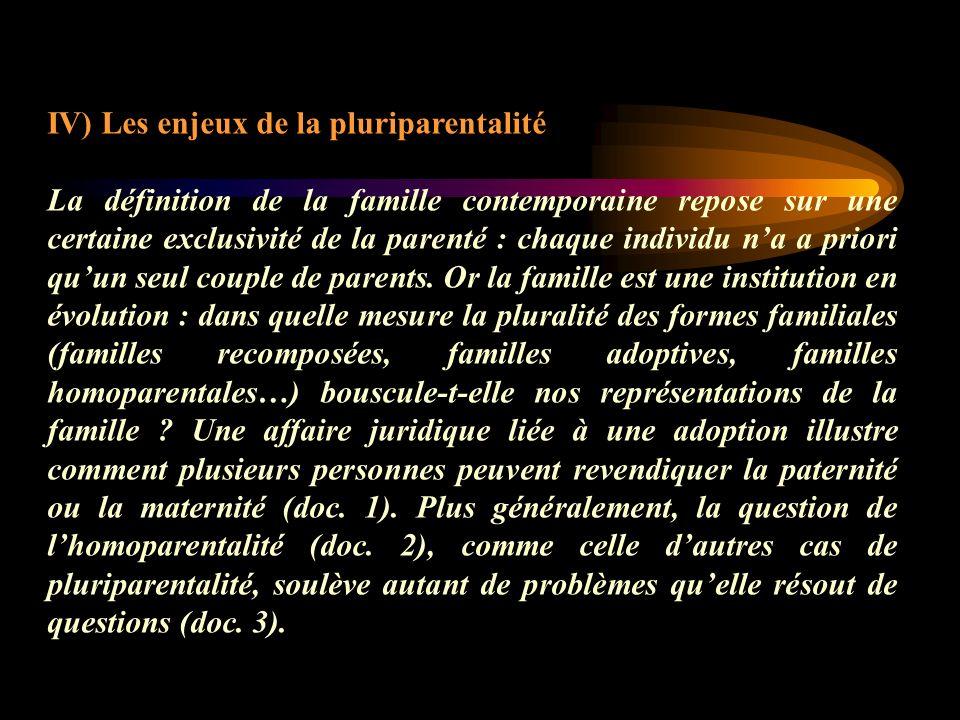 IV) Les enjeux de la pluriparentalité