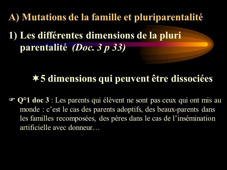 A) Mutations de la famille et pluriparentalité