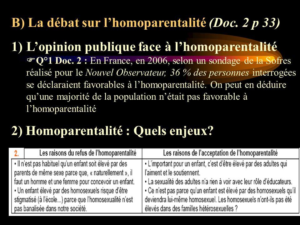 B) La débat sur l'homoparentalité (Doc. 2 p 33)