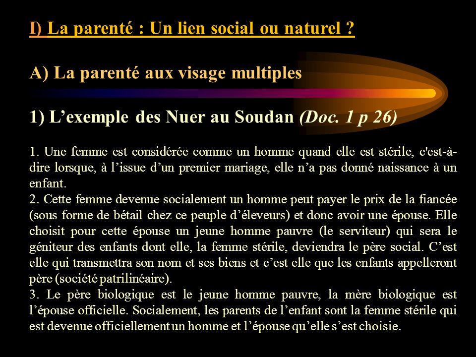 I) La parenté : Un lien social ou naturel