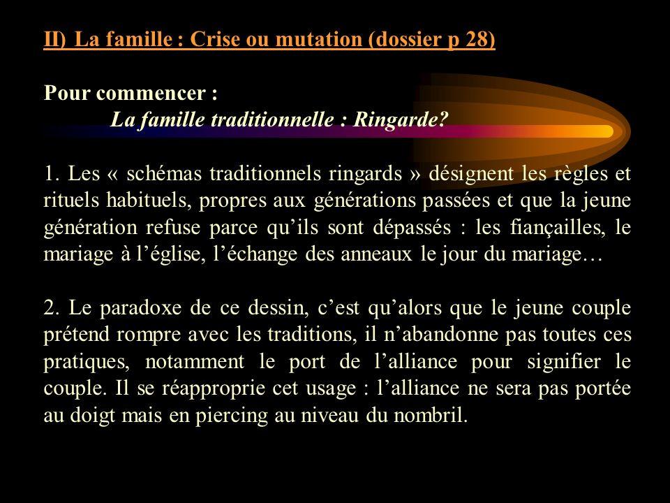II) La famille : Crise ou mutation (dossier p 28)