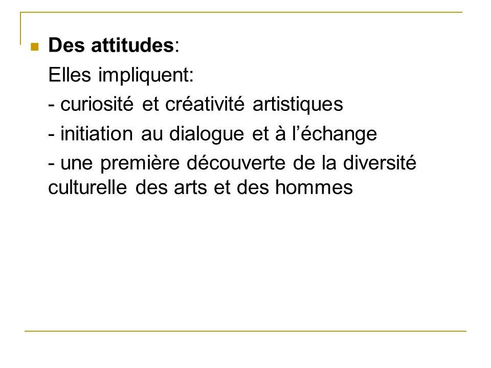Des attitudes: Elles impliquent: - curiosité et créativité artistiques. - initiation au dialogue et à l'échange.