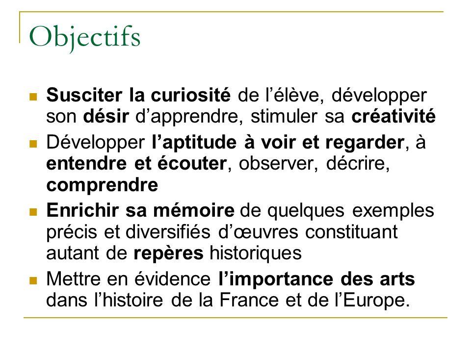 Objectifs Susciter la curiosité de l'élève, développer son désir d'apprendre, stimuler sa créativité.