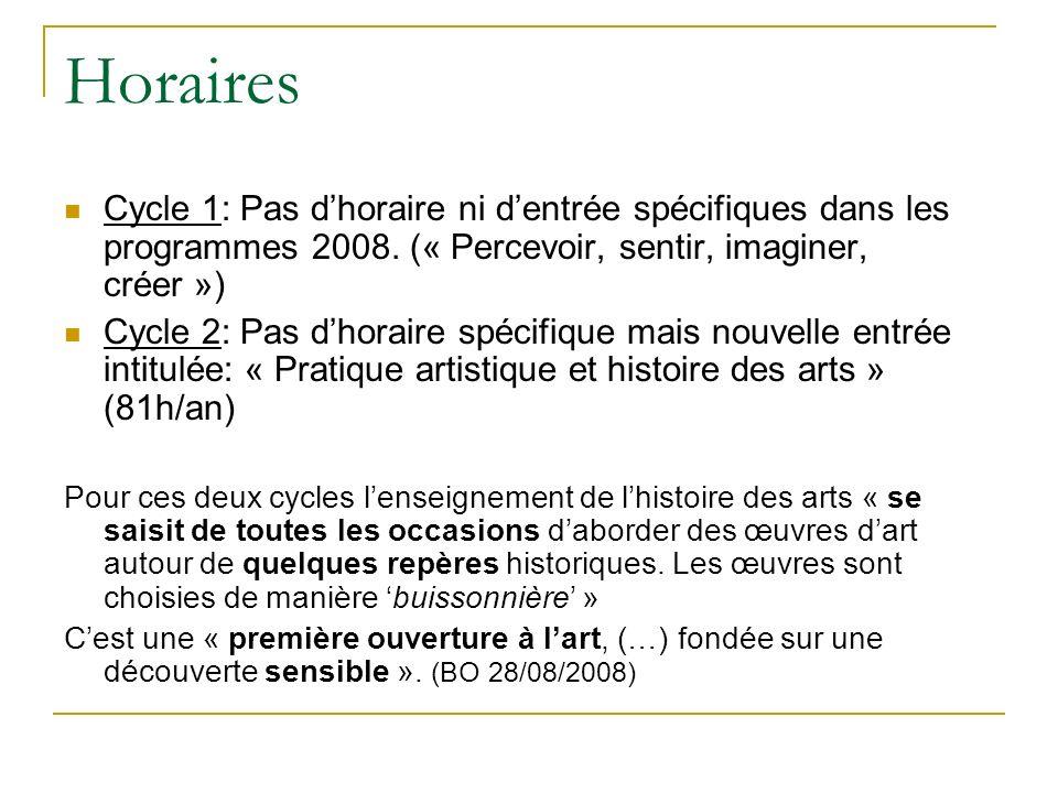 Horaires Cycle 1: Pas d'horaire ni d'entrée spécifiques dans les programmes 2008. (« Percevoir, sentir, imaginer, créer »)