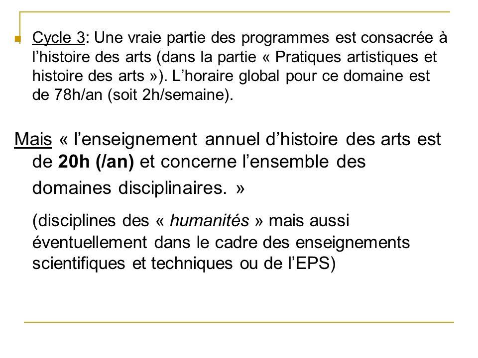Cycle 3: Une vraie partie des programmes est consacrée à l'histoire des arts (dans la partie « Pratiques artistiques et histoire des arts »). L'horaire global pour ce domaine est de 78h/an (soit 2h/semaine).