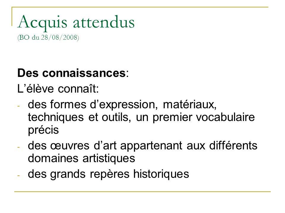 Acquis attendus (BO du 28/08/2008)