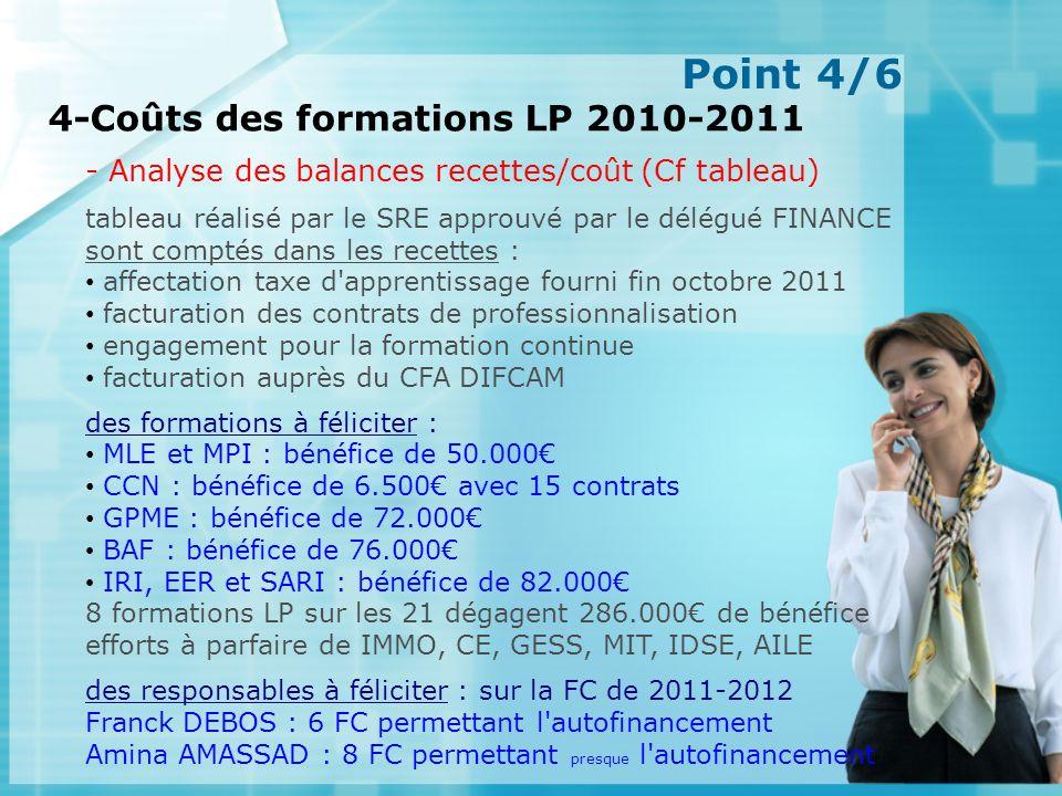 Point 4/6 4-Coûts des formations LP 2010-2011