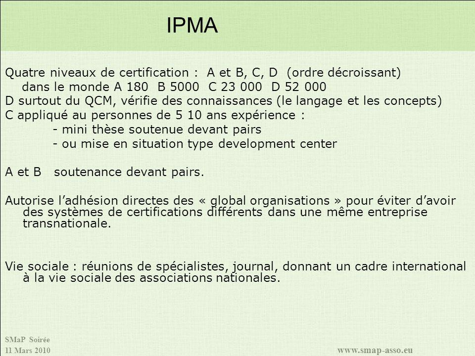 IPMA Quatre niveaux de certification : A et B, C, D (ordre décroissant) dans le monde A 180 B 5000 C 23 000 D 52 000.