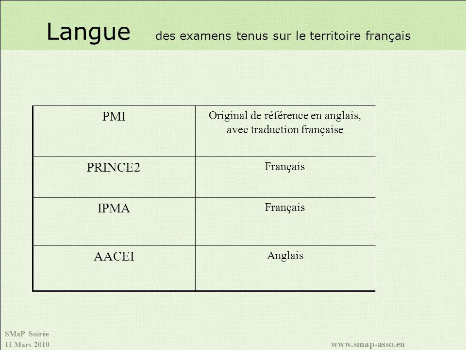 Langue des examens tenus sur le territoire français
