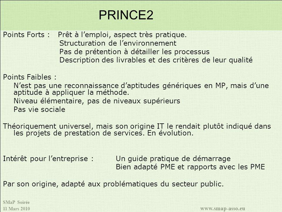 PRINCE2 Points Forts : Prêt à l'emploi, aspect très pratique.
