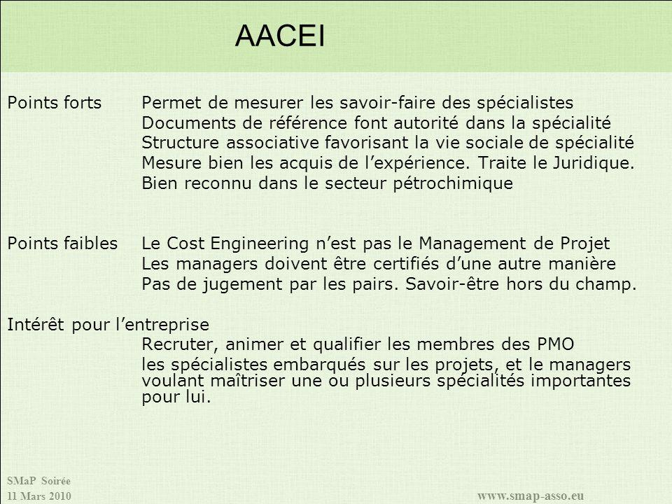 AACEI Points forts Permet de mesurer les savoir-faire des spécialistes