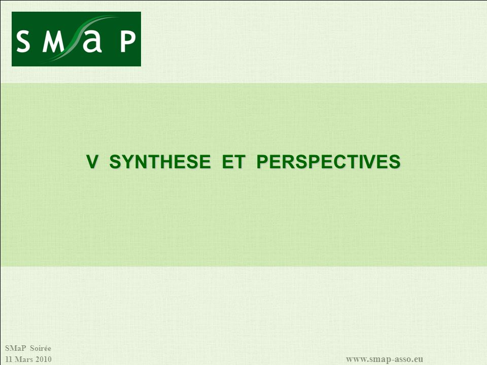 V SYNTHESE ET PERSPECTIVES