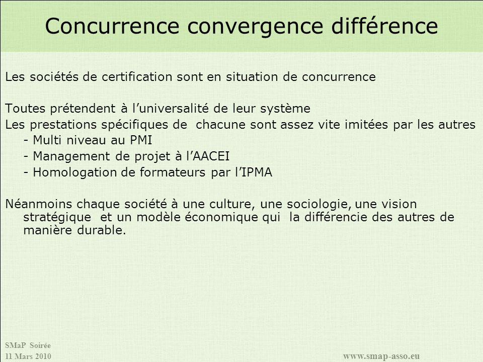 Concurrence convergence différence