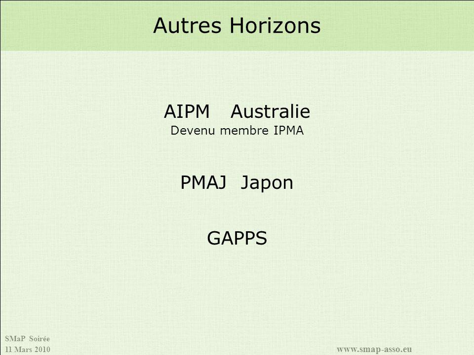 Autres Horizons AIPM Australie Devenu membre IPMA PMAJ Japon GAPPS