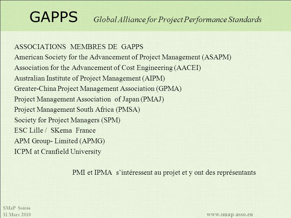 GAPPS Global Alliance for Project Performance Standards