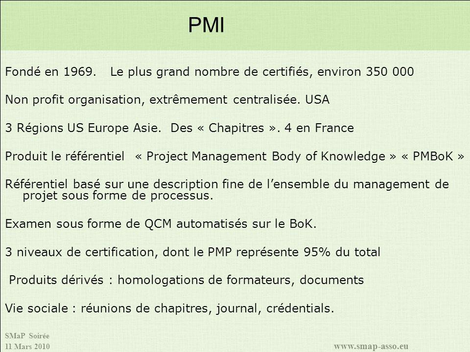 PMI Fondé en 1969. Le plus grand nombre de certifiés, environ 350 000