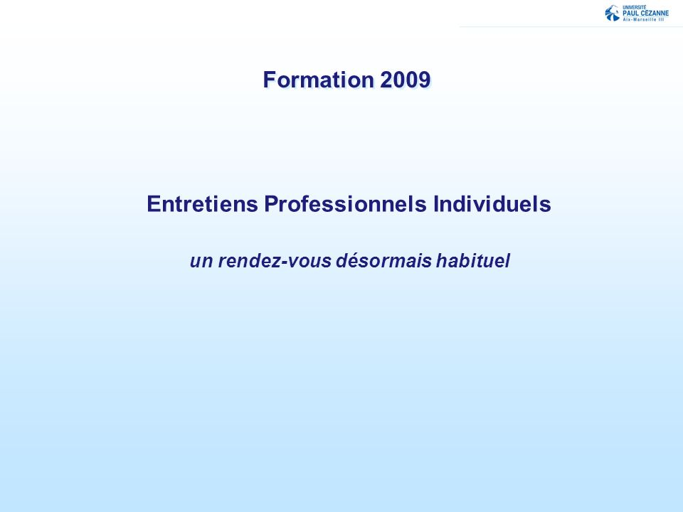 Entretiens Professionnels Individuels