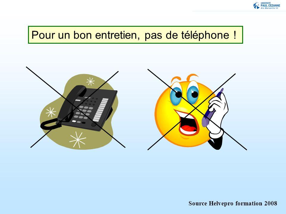 Pour un bon entretien, pas de téléphone !