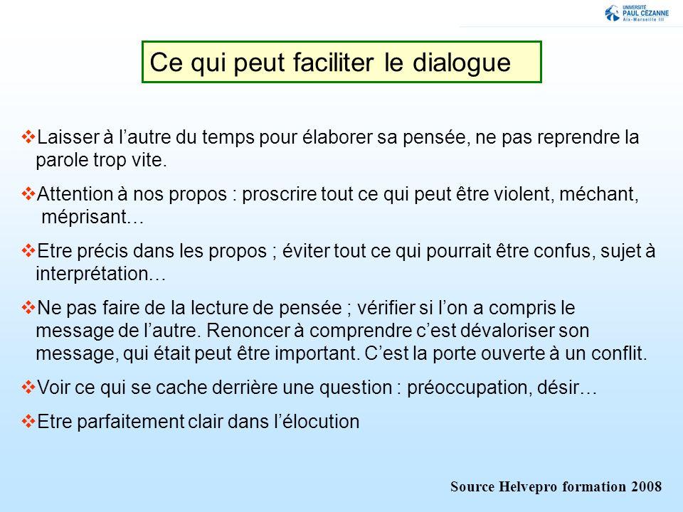 Ce qui peut faciliter le dialogue