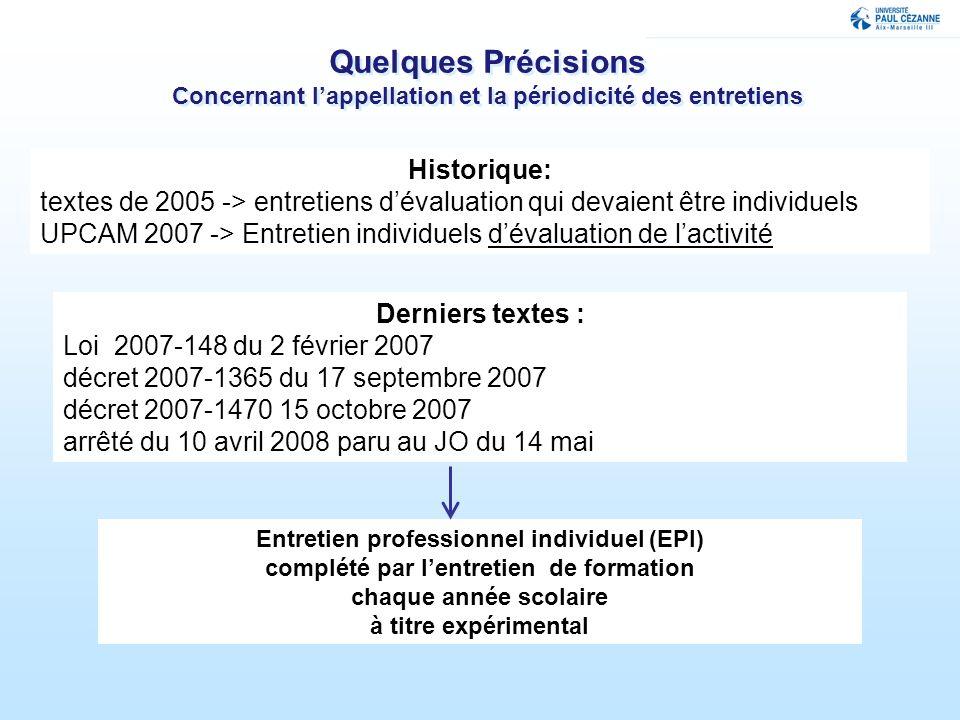 30/03/2017 Quelques Précisions Concernant l'appellation et la périodicité des entretiens. Historique: