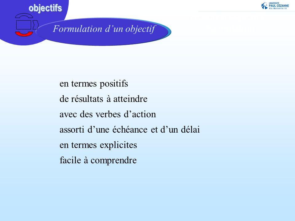 Notion d'objectifs : formulation