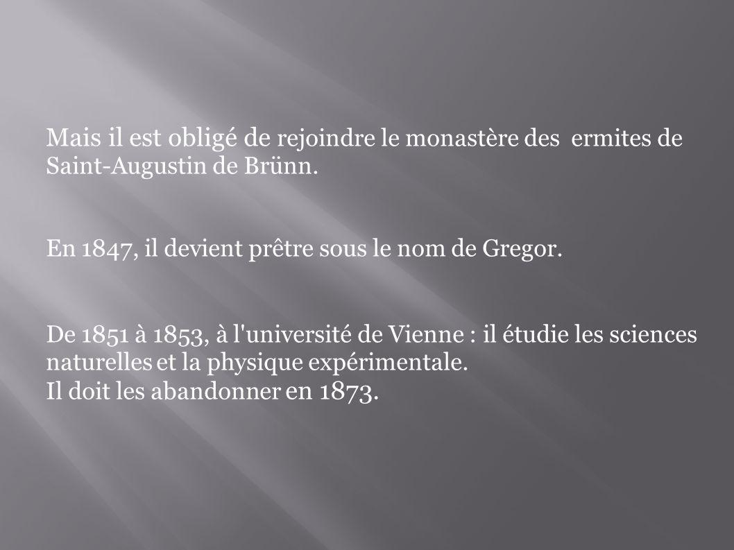 Mais il est obligé de rejoindre le monastère des ermites de Saint-Augustin de Brünn.