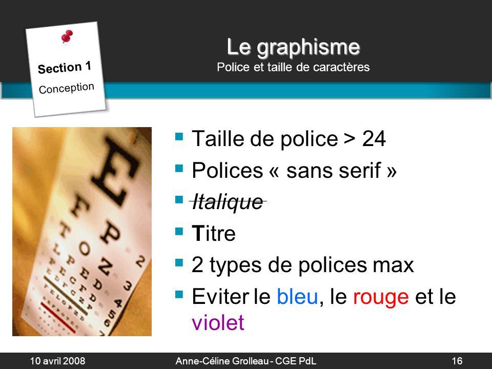 Le graphisme Police et taille de caractères