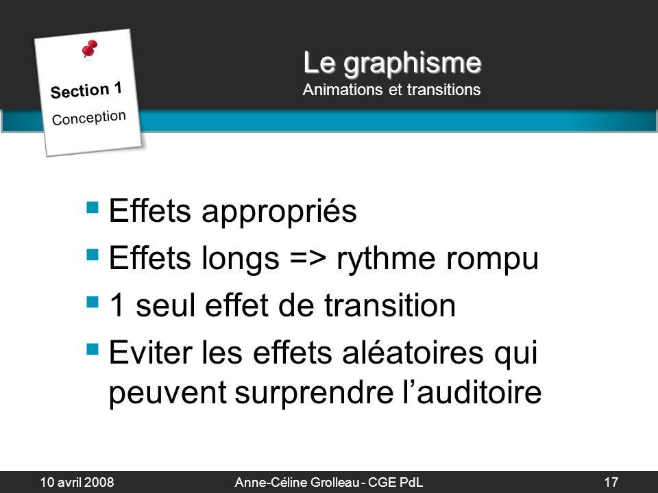 Le graphisme Animations et transitions