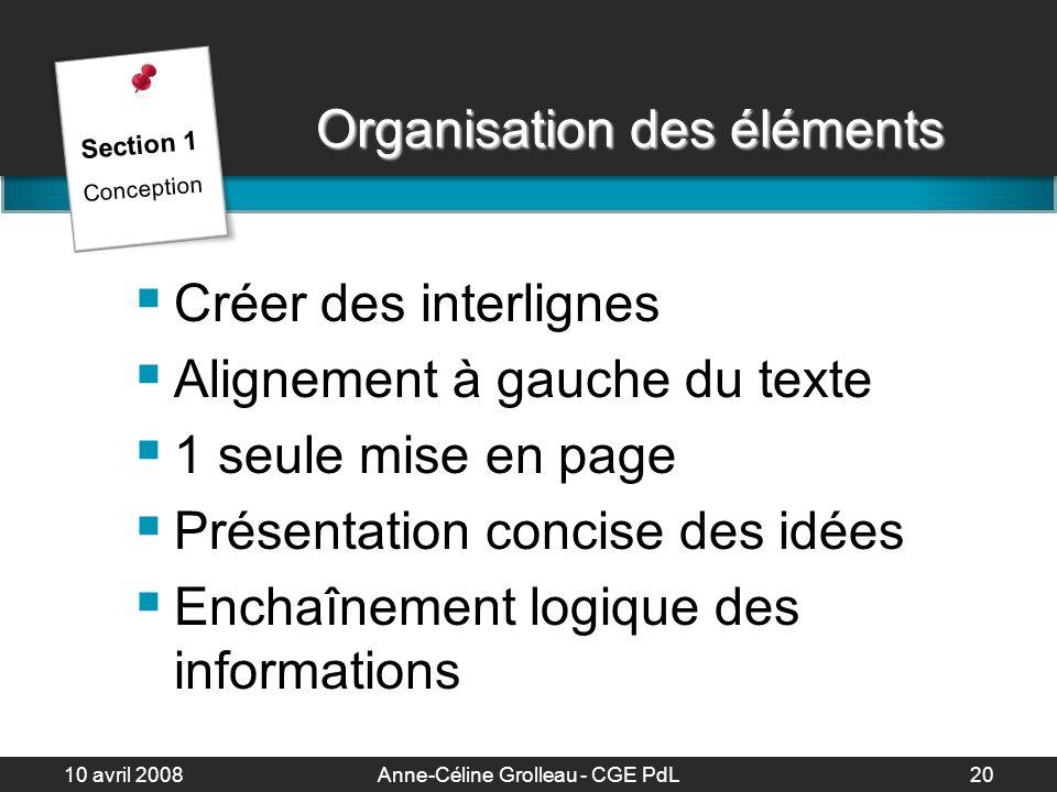 Organisation des éléments