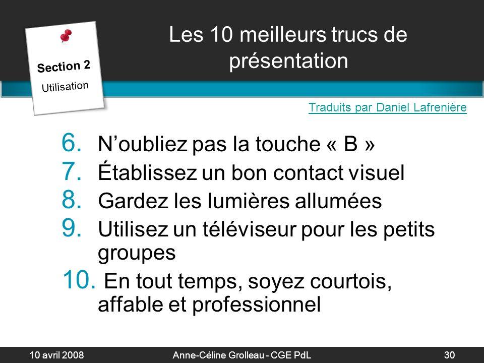 Les 10 meilleurs trucs de présentation
