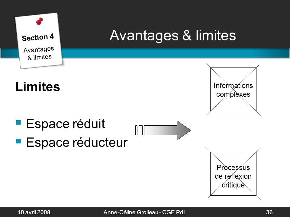 Avantages & limites Limites Espace réduit Espace réducteur Section 4