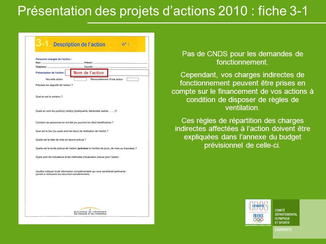 Présentation des projets d'actions 2010 : fiche 3-1