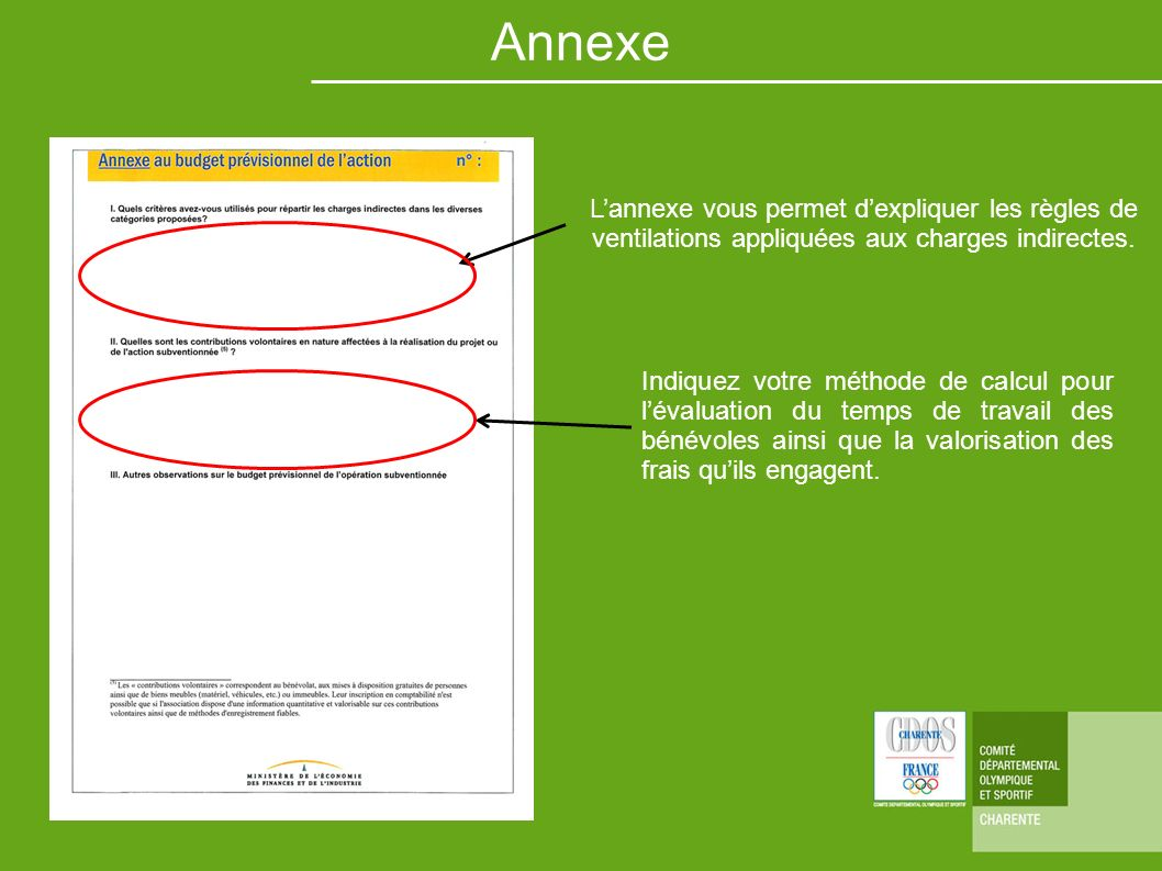 Annexe L'annexe vous permet d'expliquer les règles de ventilations appliquées aux charges indirectes.