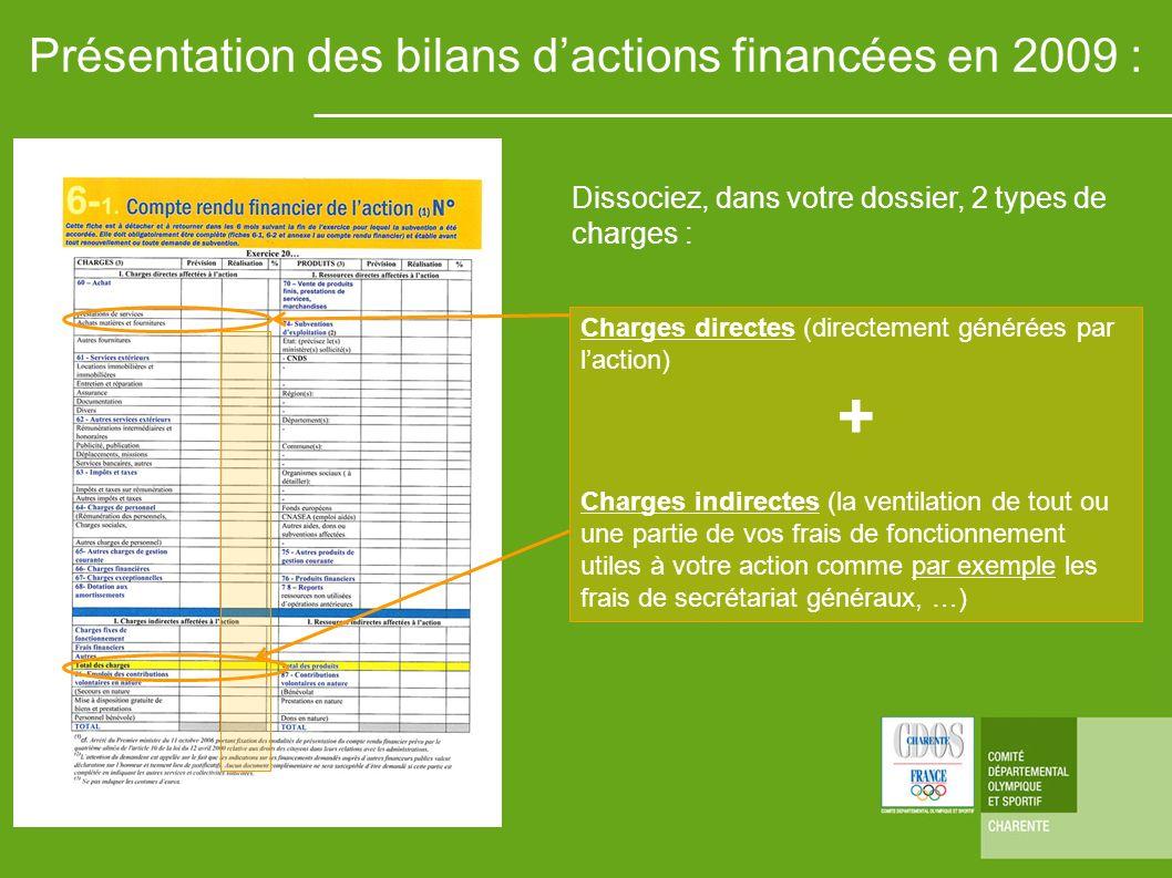 Présentation des bilans d'actions financées en 2009 :