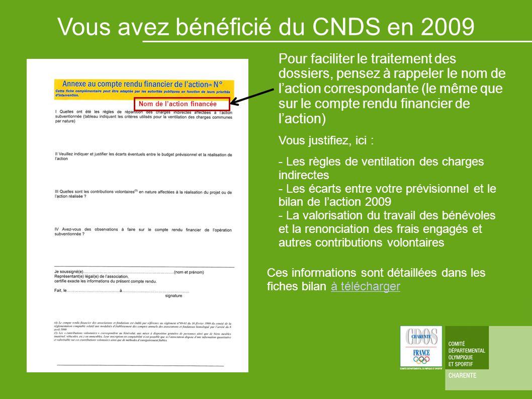 Vous avez bénéficié du CNDS en 2009