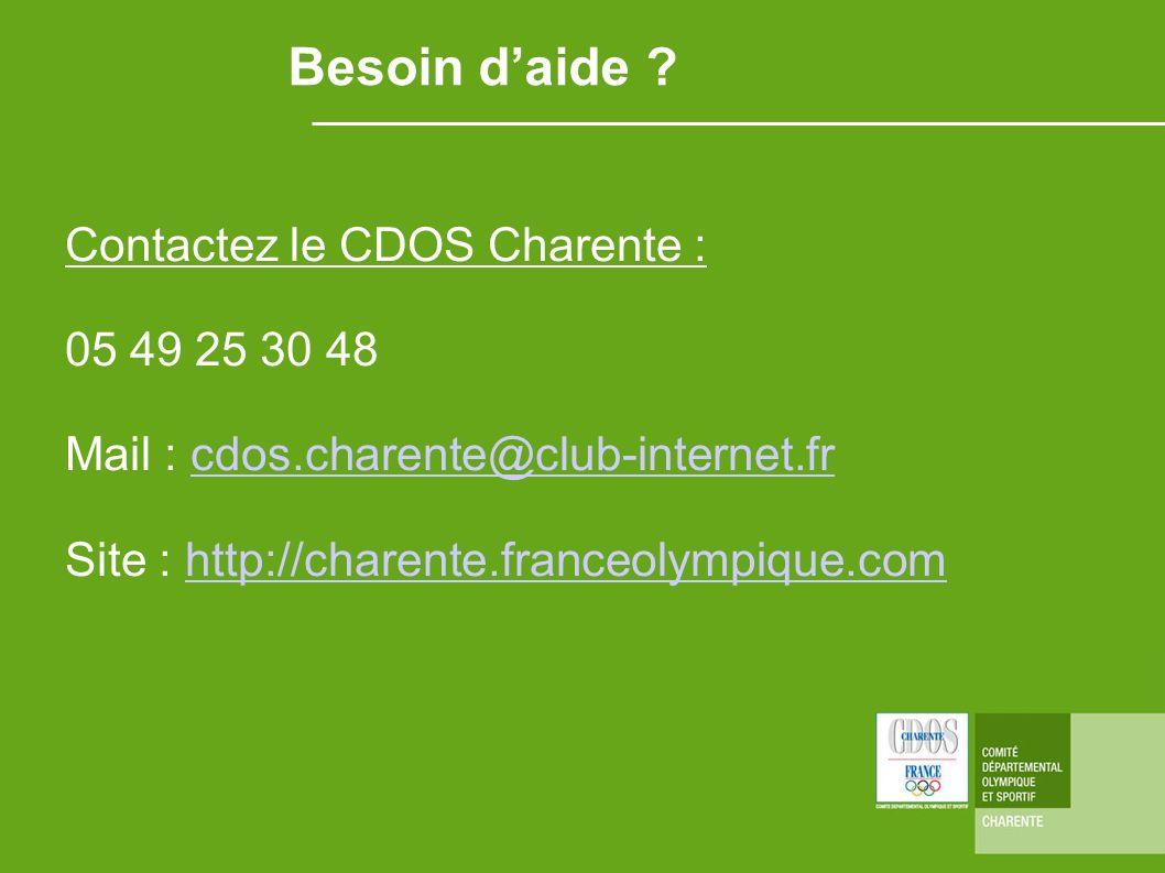 Besoin d'aide Contactez le CDOS Charente : 05 49 25 30 48