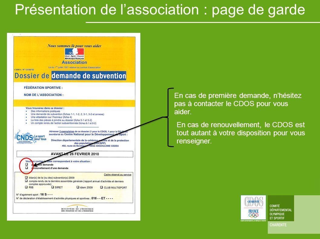 Présentation de l'association : page de garde